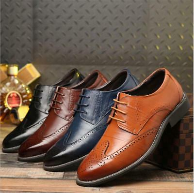 Mens Leather Brogues Smart Formal Office Casual Lace Up Oxford Brogue Work Shoes