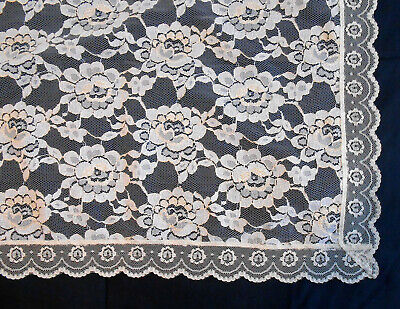 "Two-Tone Cream/Off-White Tan Floral Lace Rectangular Table Cloth Fabric 88""x60"""