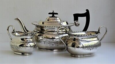 Elegant And Stylish Vintage Large Silver Plated Epns Sheffield 3 Piece Tea Set