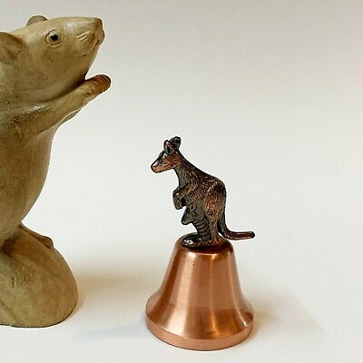 Small Kangaroo & Joey Brass Bell, 8cm Tall, Excellent Condition