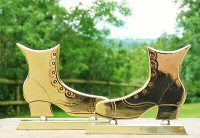 """Large Victorian brass boots / shoes bookends brass ornament 5"""" x 6"""""""