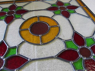 Traditionally Crafted STAINED GLASS WINDOW PANEL Floral Design 638mm by 635mm