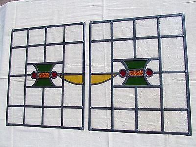 Pair of FULLY RESTORED Original 1930's Patterned STAINED GLASS WINDOW PANELS