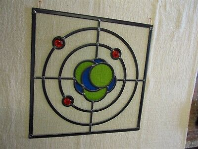 Newly crafted TRADITIONAL STAINED GLASS WINDOW PANEL Hanging Hoops LITHIUM ATOM