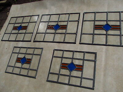 Set of 5 FULLY RESTORED Matching 1930's STAINED GLASS WINDOW PANELS
