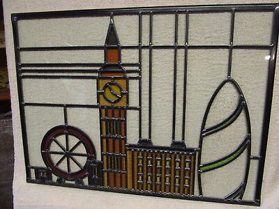 NEW professionally crafted STAINED GLASS WINDOW PANEL London Skyline 537mmx397mm
