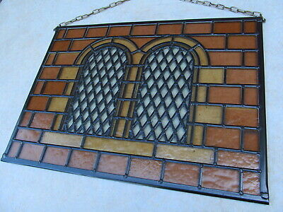 Newly crafted Stained Glass Window Panel STONE WINDOWS Victorian Glass 491mm w