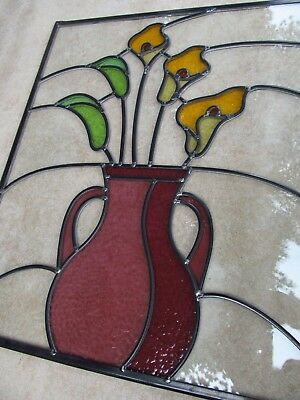 Newly Crafted TRADITIONAL STAINED GLASS WINDOW PANEL Unique FLORAL Design