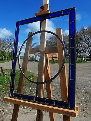 "FULLY RESTORED Stained Glass Window Panel 15"" BULLSEYE Blue Border 527 by 667mm"