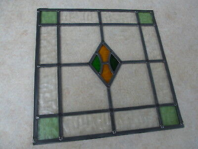 1920s or 1930s FULLY RESTORED Traditional STAINED GLASS WINDOW PANEL 444 x 450mm
