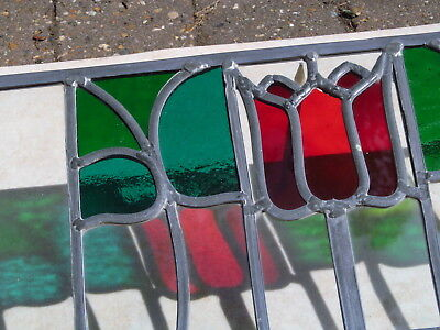 "FULLY RESTORED Original Edwardian STAINED GLASS WINDOW PANEL Floral 22"" by 17"""
