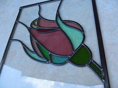 Newly Crafted TRADITIONAL STAINED GLASS WINDOW PANEL Unique FLORAL ROSE Design