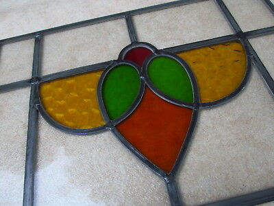 PAIR of Professionally Restored 1930s Traditional STAINED GLASS WINDOW PANELS