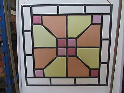 FULLY RESTORED Original VICTORIAN STAINED GLASS WINDOW PANEL 550mm by 522mm