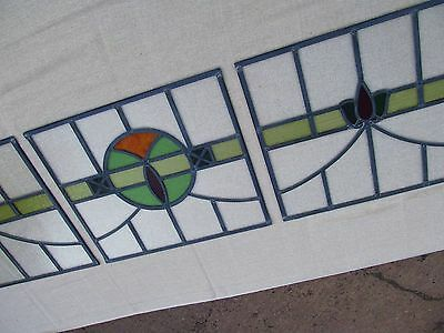 SET of 5 FULLY RESTORED cc1936 Stained Glass Window Panels with CRITTALL FRAMES