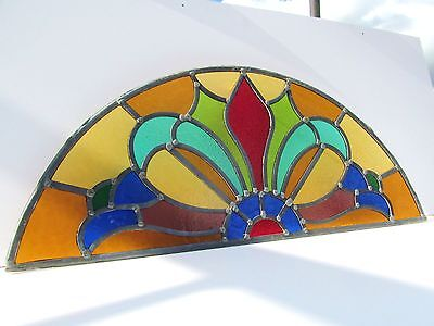 ORIGINAL 1920s ARCHED STAINED GLASS WINDOW PANEL Overdoor Transom Fanlight 78cm