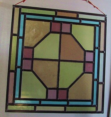 FULLY RESTORED Original VICTORIAN STAINED GLASS WINDOW PANEL 533mm by 565mm