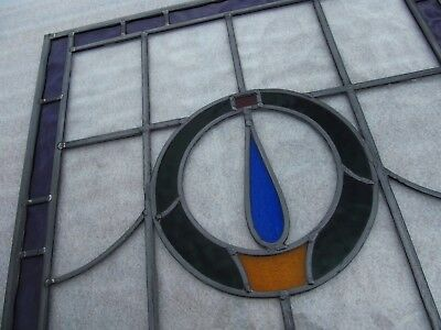 Fully Restored ORIGINAL Edwardian STAINED GLASS WINDOW PANEL 560mm by 597mm