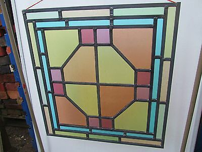 FULLY RESTORED Original VICTORIAN STAINED GLASS WINDOW PANEL 537mm by 565mm