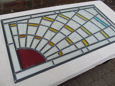 Newly crafted TRADITIONAL STAINED GLASS WINDOW PANEL Sunburst 825mm by 438mm