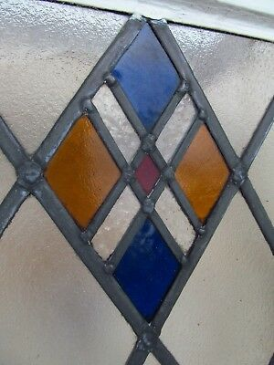 Matching SET of 7 Traditional STAINED GLASS WINDOW PANELS 1930s NO GLASS DAMAGE