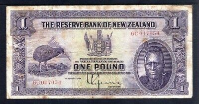 New Zealand 1934 One Pound Note VG.