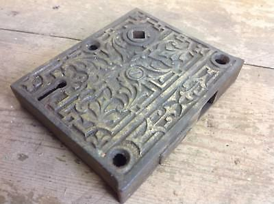 Antique ornate cast brass iron door gate lock old reclaimed