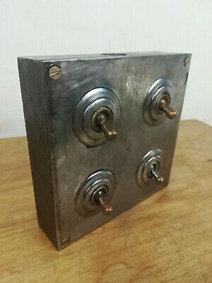 Industrial 4 gang light switch cast iron steel brass reclaimed