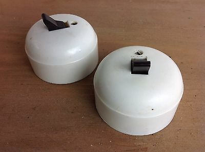 2 Vintage White Plastic Ceramic Dolly Light Switches Old Reclaimed
