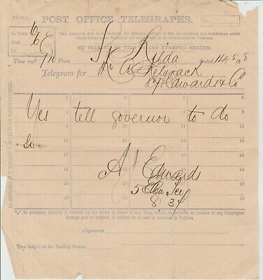 Post Office Telegraphs Early Telegram To The Governor  1888