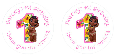 Personalised Pink Round Baby Moana 1st Birthday Party Stickers Sweet Cones Bags