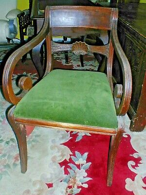 Regency Scroll Arm Antique Mahogany Chair Ideal For A Desk Etc
