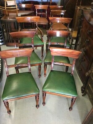 Set of Six Antique Style Green Leather Bar Back Dining Chairs