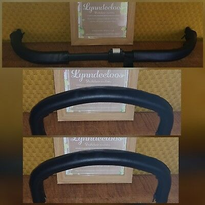 Bugaboo DONKEY faux leather handle bar & 2 bumper bar COVERS ONLY, CURVED Black