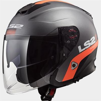 Jet-Helm LS2 OF521 Infinity Smart Matt Titanium Orange 305212107 Gr XL