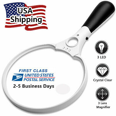 3 LED 45X  3X Handheld Magnifier Reading Magnifying Glass Lens Jewelry Loupe
