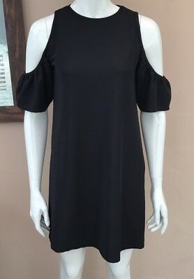 ceb4715e Zara Cold Shoulder Dress Size S 8 10 Black T-shirt Shift Ribbed Textured  Blogger