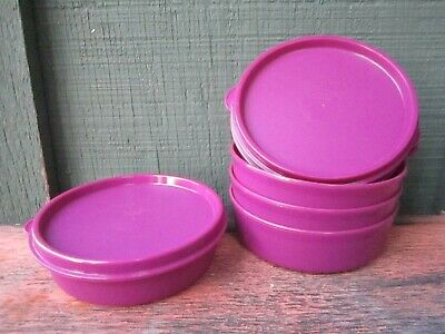 Tupperware 4 Little Wonders Bowls Magenta Deep Pink Color NEW 4x1.5""
