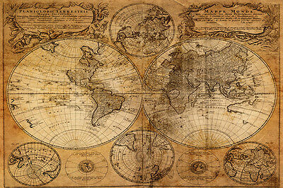 Stunning Map Of The World Canvas #11 Antique Style Nautical Picture Wall Hanging