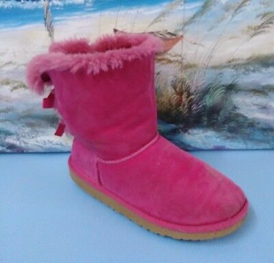 c4f38a03c32 UGG BARELY GIRLS Bailey Bow Pink Suede Sheepskin Winter Boots Size ...