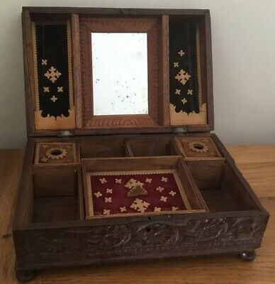Antique Folk Art Hand Carved Wooden Sewing Box Distressed Mirror Floral
