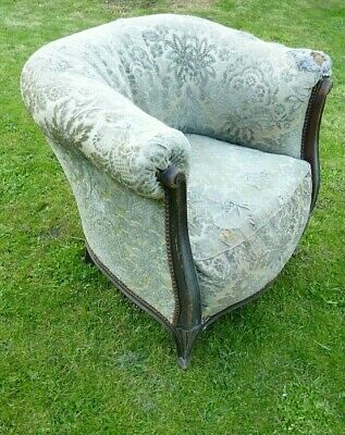 Rare Antique Chair - Small Tub/ Barrel Backed With Scrolls - For Restoration