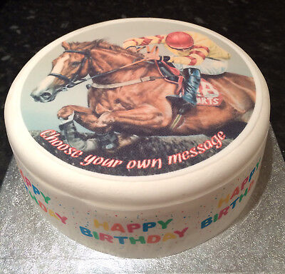 Horse Racing pre-cut Edible Icing Cake Topper or Ribbon Easy to use