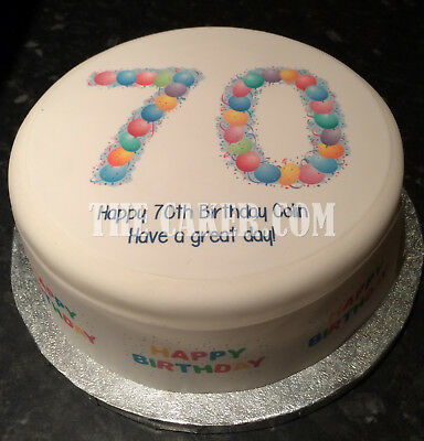 70th Birthday Balloons pre-cut Edible Icing Cake Topper or Ribbon