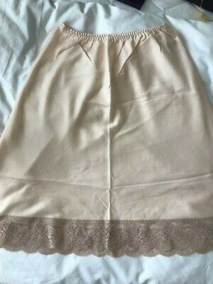 Glossy vintage satin half slip - Pale peach colour - St Michael - UK14-16