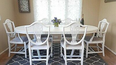 Stunning Extending Regency Dining Table 6 Chairs White Silver Grey Shabby Chic