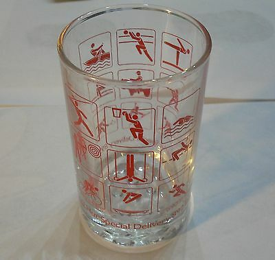 VINTAGE Pizza Hut Fast Food Collectible Sports Pictograms GLASS VERY RARE/NICE!