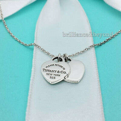 bccb682124f1d RETURN TO TIFFANY & Co. Mini Double Heart Tag Pendant Necklace 925 Silver  16