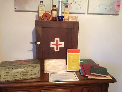 Victorian Antique Wooden First Aid Cabinet From a Physics Lab / School