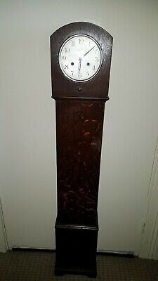 Antique Old Vintage Oak Cased Grandmother Clock